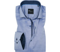 Herren Hemd, Slim Fit, Popeline, navy gemustert blau