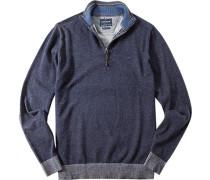Herren Pullover Troyer Wolle-Baumwoll-Mix navy meliert blau