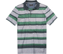 Herren Polo-Shirt Baumwolle mercerisiert blau-grün gestreift