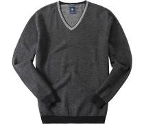 Herren Pullover Wolle grau-schwarz gestreift