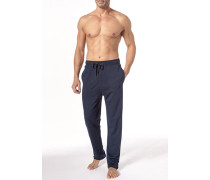 Herren Schlafhose Baumwolle dunkelblau