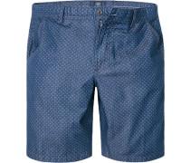 Herren Hose Shorts, Baumwolle, indigo gemustert blau