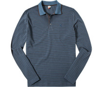 Herren Polo-Shirt Baumwoll-Piqué blau-schwarz gestreift