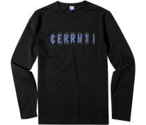 Herren T-Shirt Longsleeve Baumwoll-Stretch schwarz