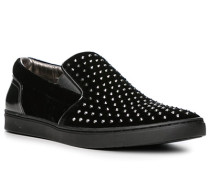 Herren Schuhe Slipper, Samt-Leder, schwarz