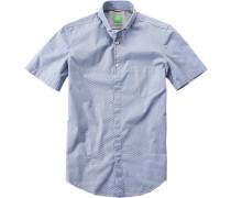 Herren Hemd Modern Fit Baumwolle blau gemustert