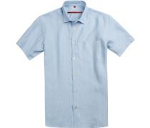 Herren Hemd, Classic Fit, Leinen, hellblau
