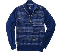 Herren Pullover Troyer Woll-Mix blau