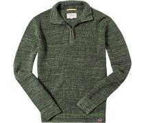 Herren Pullover Troyer Baumwolle schilfgrün meliert