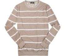Herren Pullover Leinen-Baumwolle taupe-weiß gestreift