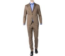 Herren Anzug Shaped Fit Baumwoll-Stretch hellbraun
