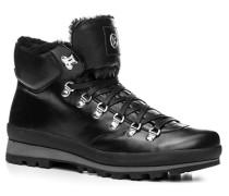 Herren Schuhe Stiefeletten Leder Lammfellfutter schwarz multicolor