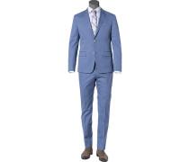Herren Anzug, Fitted, Baumwolle, bleu blau