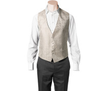 Herren Anzug Weste, Slim Line, Microfaser, champagner-ecru gemustert weiß
