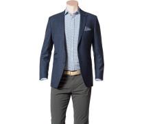 Herren Sakko, Shape Fit, Schurwolle Super100, dunkelblau-weiß gemustert