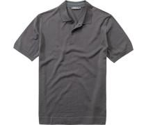 Herren Polo-Shirt Schurwollstrick dunkelgrau