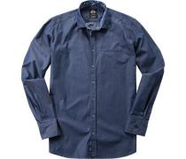 Herren Hemd Feintwill jeansblau