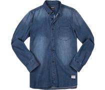 Herren Hemd, Slim Fit, Jeans, jeansblau