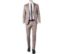 Herren Anzug, Slim Fit, Baumwolle, beige