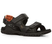 Herren Schuhe Sandalen Microfaser schwarz