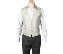 Herren Anzug Weste, Slim Line, Microfaser, wollweiß-creme gemustert