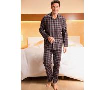 Herren Schlafanzug Pyjama Baumwolle bordeaux-anthrazit kariert grau