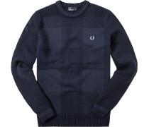 Herren Pullover Wolle-Baumwolle navy meliert blau