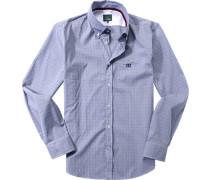 Herren Hemd, Baumwolle, marine-weiß gemustert blau