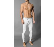 Herren Lange Unterhose Baumwoll-Stretch weiß