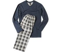 Herren Schlafanzug Pyjama Baumwolle Dunkelblau-Gelb blau,gelb