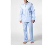Herren Schlafanzug Pyjama Baumwolle hellblau gemustert