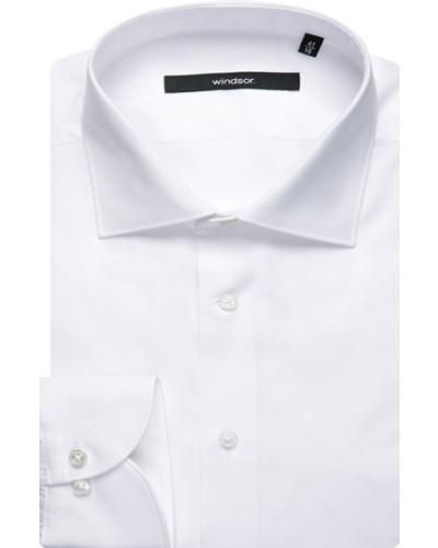 Herren Hemd, Shaped Fit, Oxford, weiß