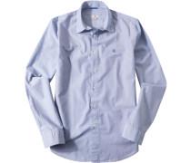 Herren Hemd Regular Fit Mille Rayé blau-weiß gestreift