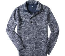 Herren Pullover Troyer Baumwolle blau-weiß meliert
