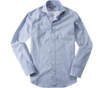 Herren Hemd Shaped Fit Baumwolle royal gemustert blau