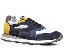 Herren Schuhe Sneaker Leder-Textil-Mix navy