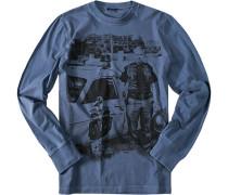 Herren T-Shirt, Baumwolle, jeansblau