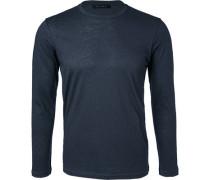 Herren T-Shirt Longsleeve Baumwolle-Kaschmir navy blau