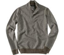 Pullover Troyer Schurwolle greige