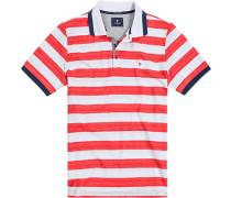 Herren Polo-Shirt, Baumwolle, rot-weiß gestreift