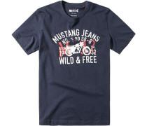 Herren T-Shirt Baumwolle indigo gemustert