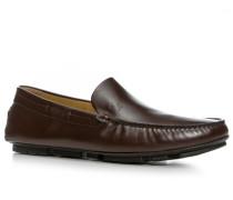 Herren Schuhe Mokassins Glattleder dunkelbraun
