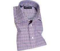 Herren Hemd Slim Fit Popeline lila-blau kariert violett