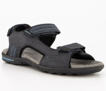 Schuhe Sandalen Leder-Textil navy