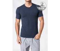 Herren T-Shirt Baumwoll-Stretch marineblau