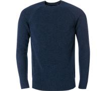 Herren Pullover, Wolle, saphirblau
