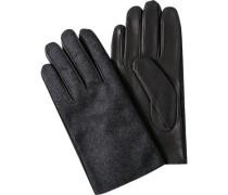 Herren  Handschuhe Tuch-Leder anthrazit-schwarz grau