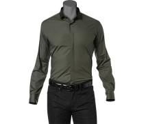 Herren Hemd Stretch-Popeline tannengrün