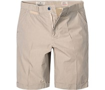 Herren Hose Shorts Regular Fit Baumwolle grau-beige gestreift