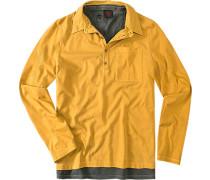 Herren T-Shirt+Polo-Shirt Baumwolle ocker-oliv gelb